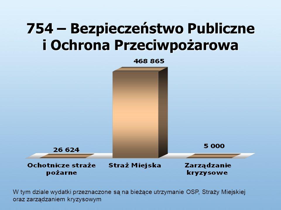 754 – Bezpieczeństwo Publiczne i Ochrona Przeciwpożarowa W tym dziale wydatki przeznaczone są na bieżące utrzymanie OSP, Straży Miejskiej oraz zarządzaniem kryzysowym