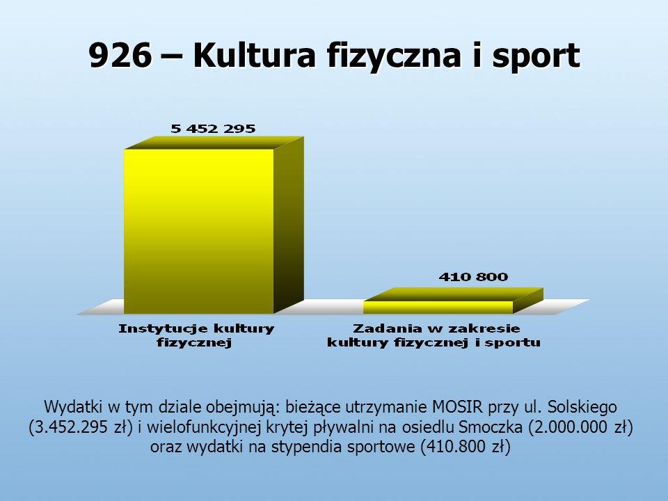 926 – Kultura fizyczna i sport Wydatki w tym dziale obejmują: bieżące utrzymanie MOSIR przy ul.