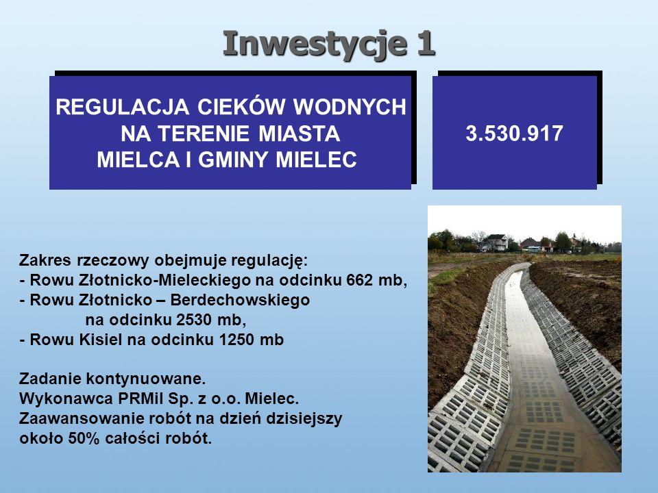 Inwestycje 1 REGULACJA CIEKÓW WODNYCH NA TERENIE MIASTA MIELCA I GMINY MIELEC REGULACJA CIEKÓW WODNYCH NA TERENIE MIASTA MIELCA I GMINY MIELEC 3.530.917 Zakres rzeczowy obejmuje regulację: - Rowu Złotnicko-Mieleckiego na odcinku 662 mb, - Rowu Złotnicko – Berdechowskiego na odcinku 2530 mb, - Rowu Kisiel na odcinku 1250 mb Zadanie kontynuowane.
