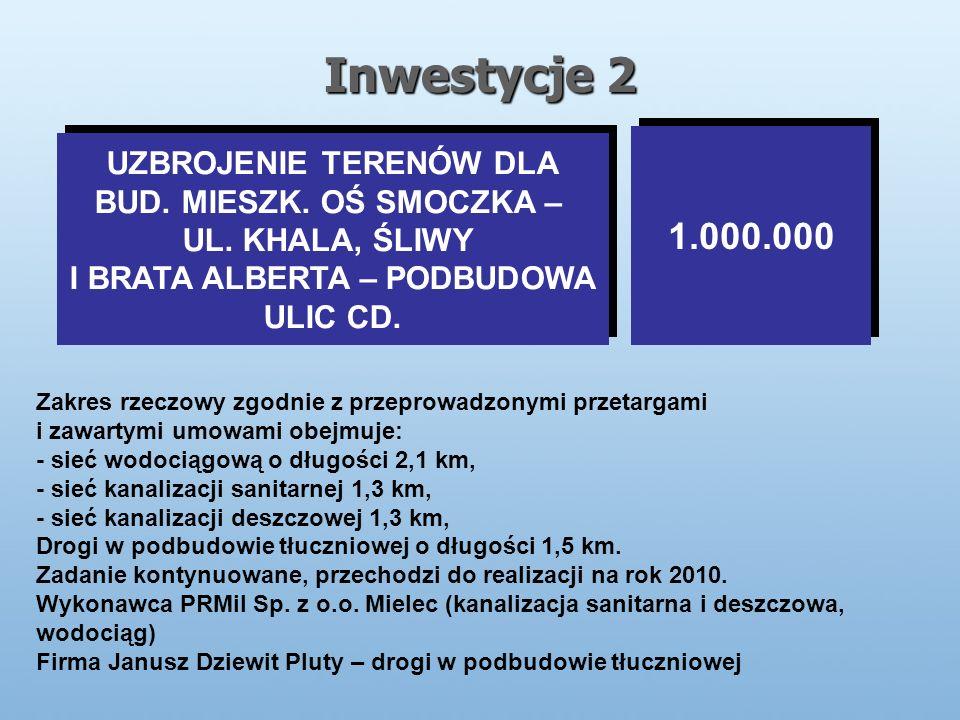 Inwestycje 2 UZBROJENIE TERENÓW DLA BUD. MIESZK. OŚ SMOCZKA – UL.