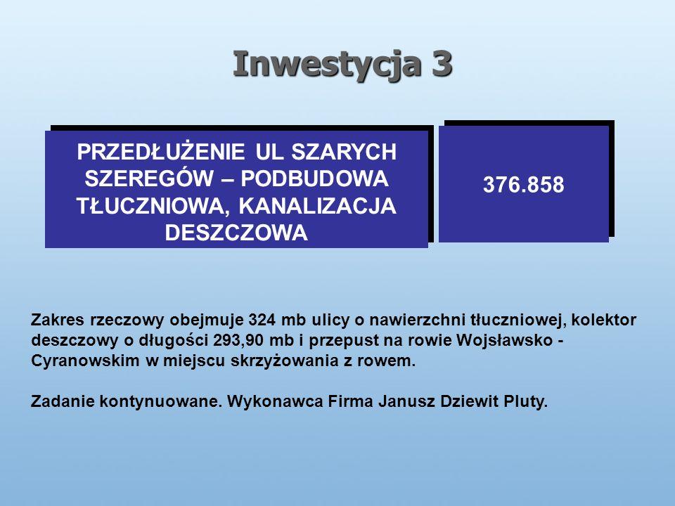 Inwestycja 3 PRZEDŁUŻENIE UL SZARYCH SZEREGÓW – PODBUDOWA TŁUCZNIOWA, KANALIZACJA DESZCZOWA PRZEDŁUŻENIE UL SZARYCH SZEREGÓW – PODBUDOWA TŁUCZNIOWA, KANALIZACJA DESZCZOWA 376.858 Zakres rzeczowy obejmuje 324 mb ulicy o nawierzchni tłuczniowej, kolektor deszczowy o długości 293,90 mb i przepust na rowie Wojsławsko - Cyranowskim w miejscu skrzyżowania z rowem.