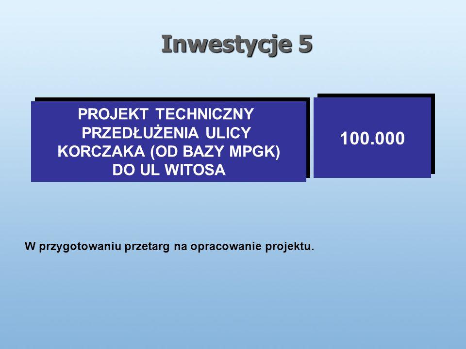 Inwestycje 5 PROJEKT TECHNICZNY PRZEDŁUŻENIA ULICY KORCZAKA (OD BAZY MPGK) DO UL WITOSA PROJEKT TECHNICZNY PRZEDŁUŻENIA ULICY KORCZAKA (OD BAZY MPGK) DO UL WITOSA 100.000 W przygotowaniu przetarg na opracowanie projektu.