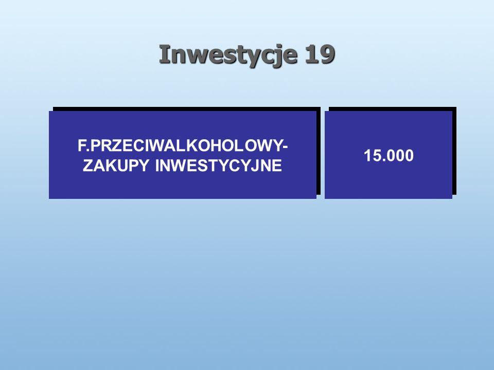 Inwestycje 19 F.PRZECIWALKOHOLOWY- ZAKUPY INWESTYCYJNE F.PRZECIWALKOHOLOWY- ZAKUPY INWESTYCYJNE 15.000