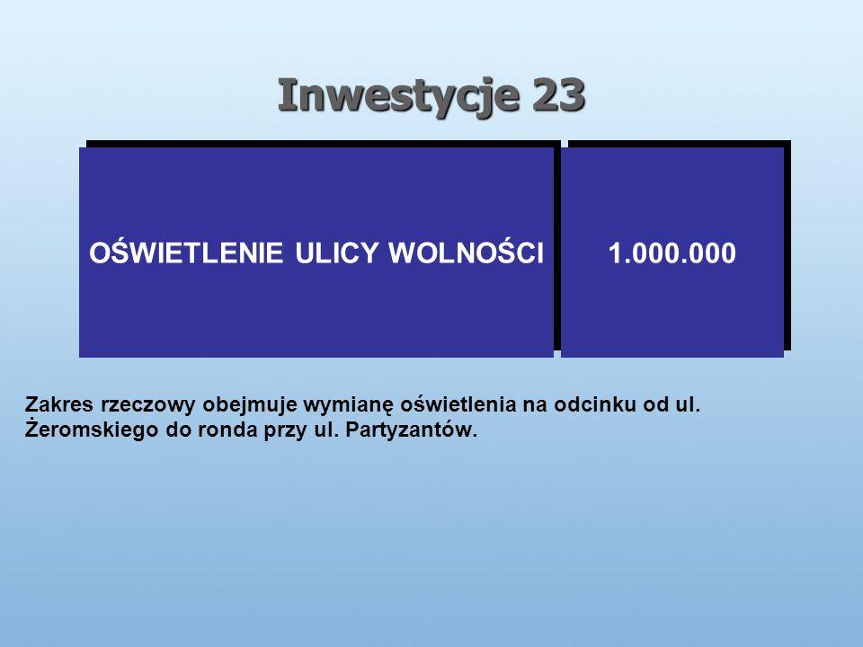 Inwestycje 23 OŚWIETLENIE ULICY WOLNOŚCI 1.000.000 Zakres rzeczowy obejmuje wymianę oświetlenia na odcinku od ul.