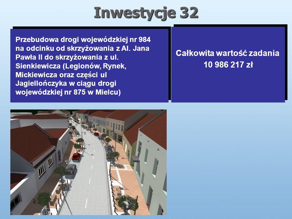 Inwestycje 32 Całkowita wartość zadania 10 986 217 zł Całkowita wartość zadania 10 986 217 zł Przebudowa drogi wojewódzkiej nr 984 na odcinku od skrzyżowania z Al.
