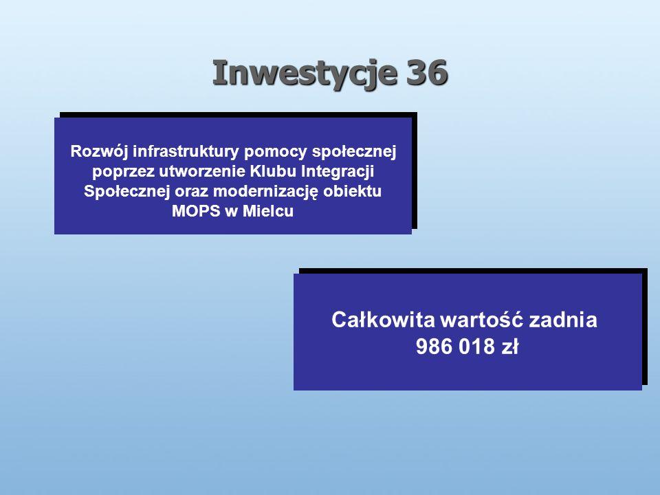 Inwestycje 36 Rozwój infrastruktury pomocy społecznej poprzez utworzenie Klubu Integracji Społecznej oraz modernizację obiektu MOPS w Mielcu Całkowita wartość zadnia 986 018 zł Całkowita wartość zadnia 986 018 zł