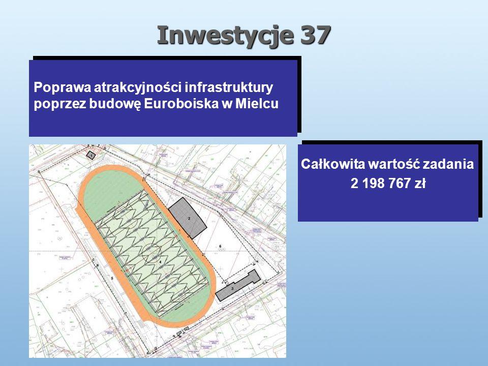 Inwestycje 37 Poprawa atrakcyjności infrastruktury poprzez budowę Euroboiska w Mielcu Całkowita wartość zadania 2 198 767 zł Całkowita wartość zadania 2 198 767 zł