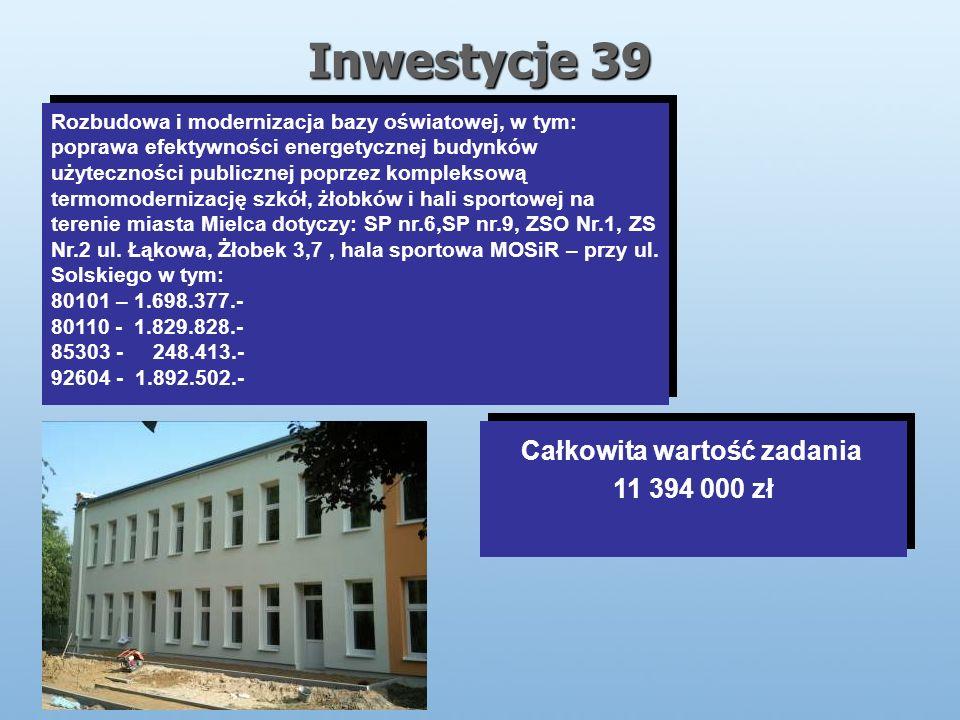 Inwestycje 39 Rozbudowa i modernizacja bazy oświatowej, w tym: poprawa efektywności energetycznej budynków użyteczności publicznej poprzez kompleksową termomodernizację szkół, żłobków i hali sportowej na terenie miasta Mielca dotyczy: SP nr.6,SP nr.9, ZSO Nr.1, ZS Nr.2 ul.