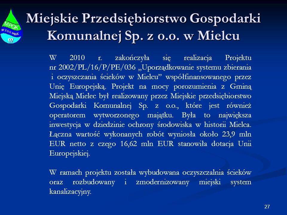27 Miejskie Przedsiębiorstwo Gospodarki Komunalnej Sp. z o.o. w Mielcu W 2010 r. zakończyła się realizacja Projektu nr 2002/PL/16/P/PE/036 Uporządkowa