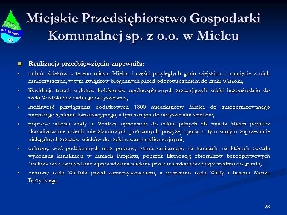 28 Miejskie Przedsiębiorstwo Gospodarki Komunalnej sp. z o.o. w Mielcu Realizacja przedsięwzięcia zapewniła: Realizacja przedsięwzięcia zapewniła: odb