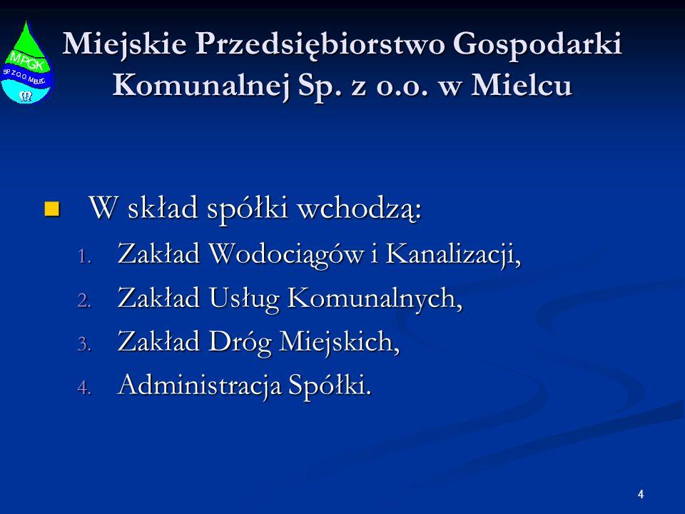 4 Miejskie Przedsiębiorstwo Gospodarki Komunalnej Sp. z o.o. w Mielcu W skład spółki wchodzą: W skład spółki wchodzą: 1. Zakład Wodociągów i Kanalizac