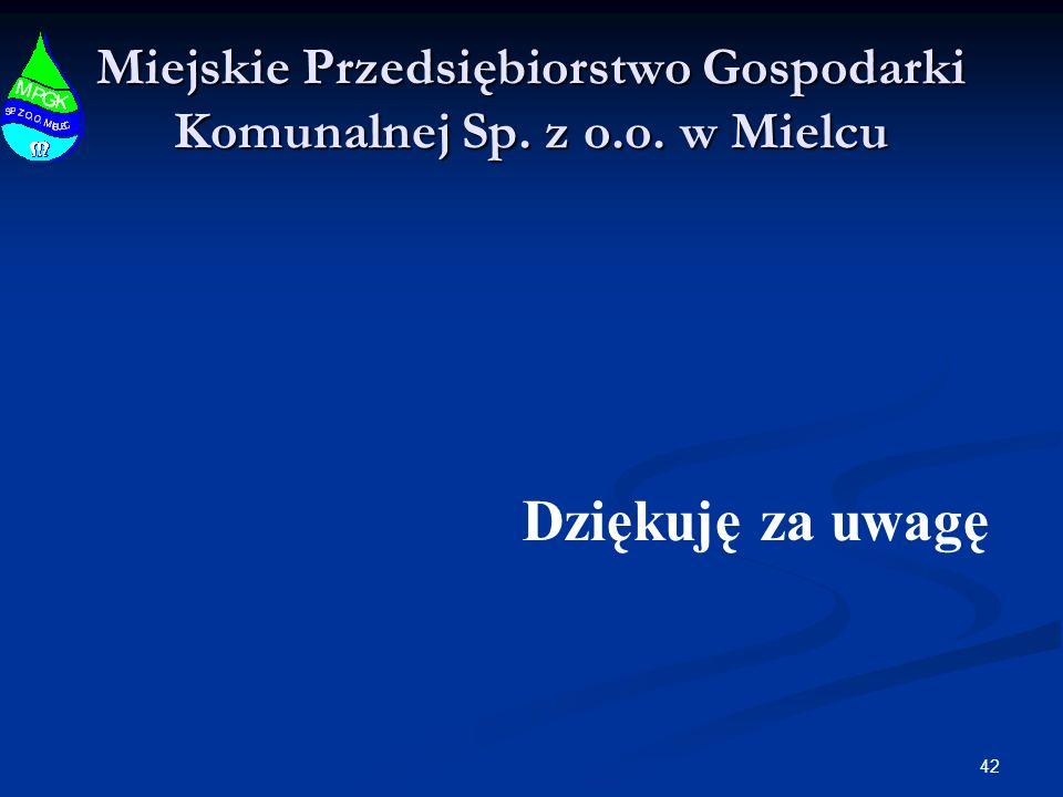 42 Miejskie Przedsiębiorstwo Gospodarki Komunalnej Sp. z o.o. w Mielcu Dziękuję za uwagę