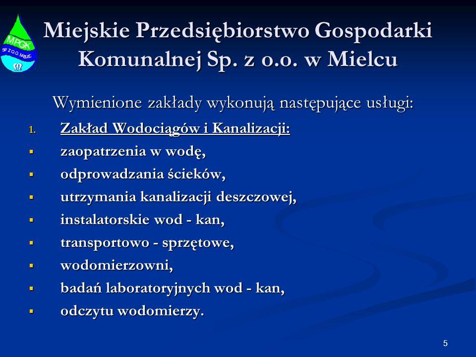 5 Miejskie Przedsiębiorstwo Gospodarki Komunalnej Sp. z o.o. w Mielcu Wymienione zakłady wykonują następujące usługi: Wymienione zakłady wykonują nast