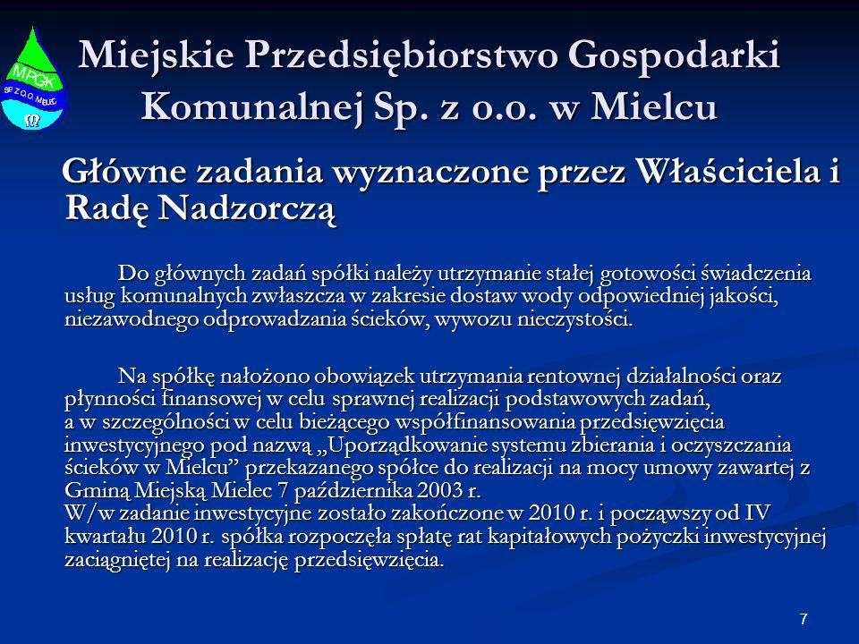 7 Miejskie Przedsiębiorstwo Gospodarki Komunalnej Sp. z o.o. w Mielcu Główne zadania wyznaczone przez Właściciela i Radę Nadzorczą Główne zadania wyzn