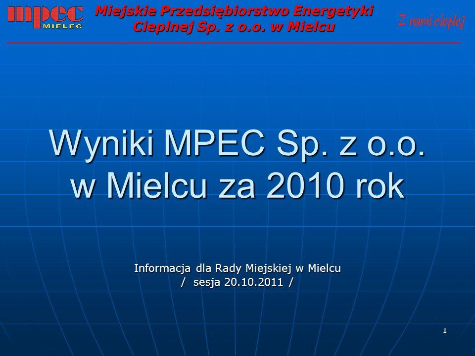 1 Wyniki MPEC Sp. z o.o. w Mielcu za 2010 rok Informacja dla Rady Miejskiej w Mielcu / sesja 20.10.2011 / Miejskie Przedsiębiorstwo Energetyki Cieplne