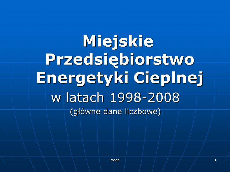 mpec 1 Miejskie Przedsiębiorstwo Energetyki Cieplnej Miejskie Przedsiębiorstwo Energetyki Cieplnej w latach 1998-2008 (główne dane liczbowe)