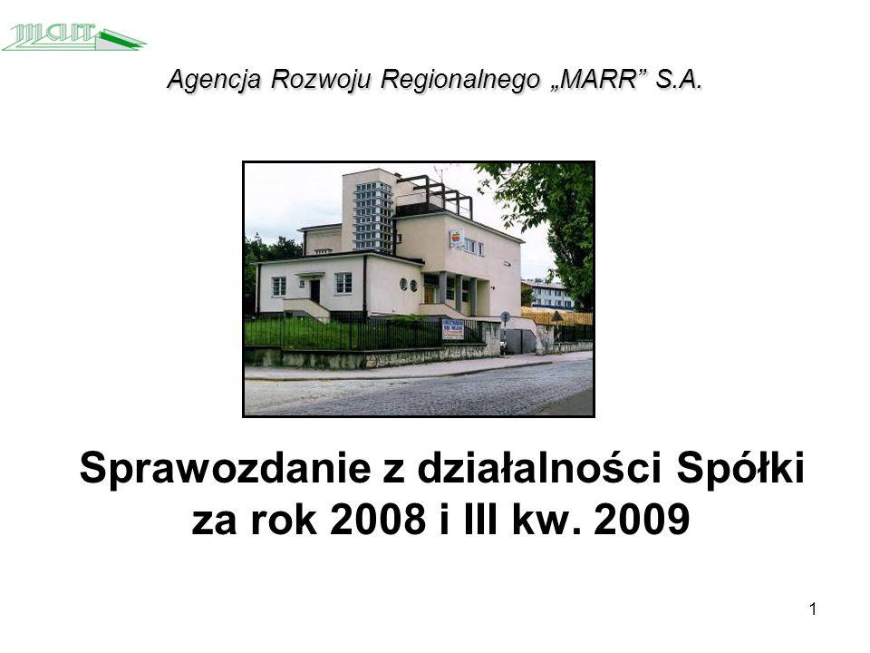 1 Agencja Rozwoju Regionalnego MARR S.A. Sprawozdanie z działalności Spółki za rok 2008 i III kw.
