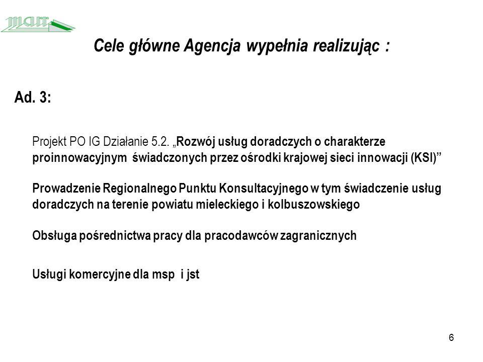 6 Cele główne Agencja wypełnia realizując : Ad. 3: Projekt PO IG Działanie 5.2.