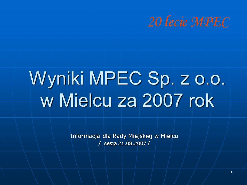 1 Wyniki MPEC Sp. z o.o. w Mielcu za 2007 rok Informacja dla Rady Miejskiej w Mielcu / sesja 21.08.2007 /