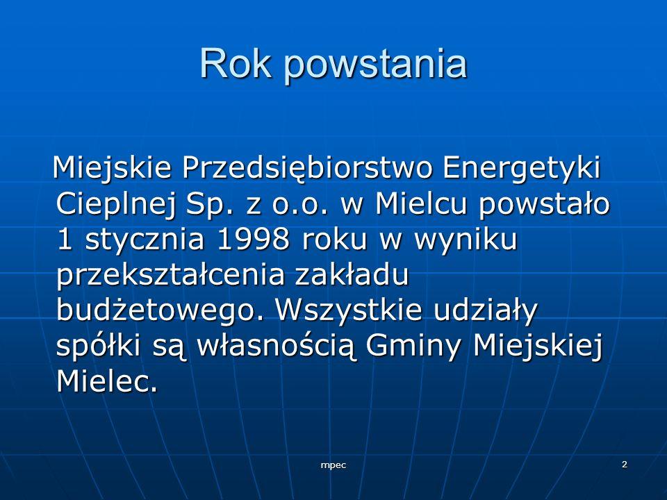 mpec 2 Rok powstania Miejskie Przedsiębiorstwo Energetyki Cieplnej Sp. z o.o. w Mielcu powstało 1 stycznia 1998 roku w wyniku przekształcenia zakładu