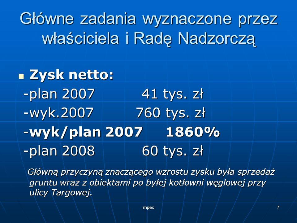 mpec 7 Główne zadania wyznaczone przez właściciela i Radę Nadzorczą Zysk netto: Zysk netto: -plan 2007 41 tys. zł -plan 2007 41 tys. zł -wyk.2007 760
