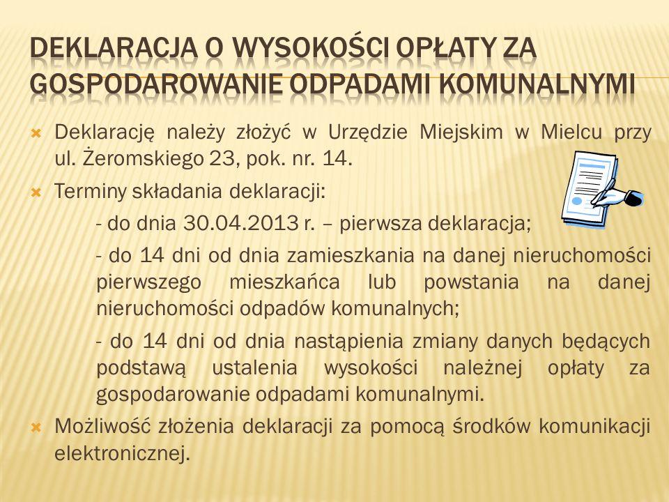 Deklarację należy złożyć w Urzędzie Miejskim w Mielcu przy ul. Żeromskiego 23, pok. nr. 14. Terminy składania deklaracji: - do dnia 30.04.2013 r. – pi