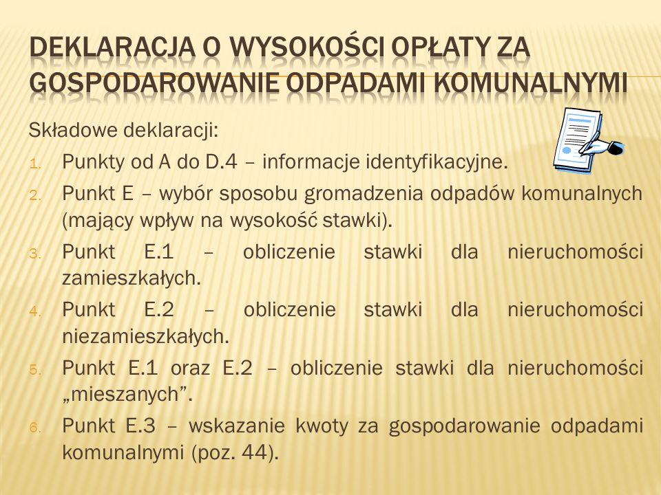 Składowe deklaracji: 1. Punkty od A do D.4 – informacje identyfikacyjne. 2. Punkt E – wybór sposobu gromadzenia odpadów komunalnych (mający wpływ na w