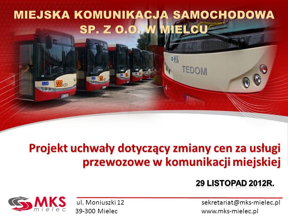 ul. Moniuszki 12 sekretariat@mks-mielec.pl 39-300 Mielec www.mks-mielec.pl Projekt uchwały dotyczący zmiany cen za usługi przewozowe w komunikacji mie