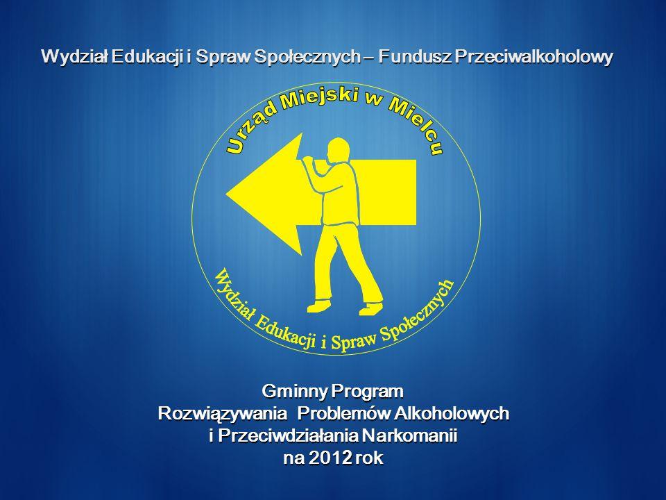 Wydział Edukacji i Spraw Społecznych – Fundusz Przeciwalkoholowy Gminny Program Rozwiązywania Problemów Alkoholowych i Przeciwdziałania Narkomanii na 201 2 rok