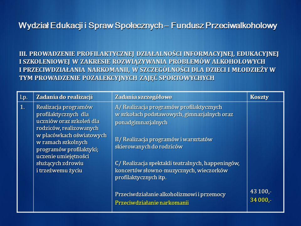 Wydział Edukacji i Spraw Społecznych – Fundusz Przeciwalkoholowy III. PROWADZENIE PROFILAKTYCZNEJ DZIAŁALNOŚCI INFORMACYJNEJ, EDUKACYJNEJ I SZKOLENIOW