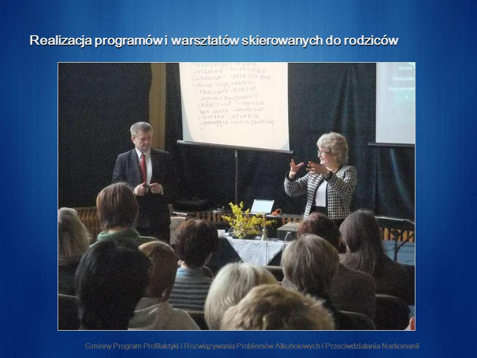Realizacja programów i warsztatów skierowanych do rodziców Gminny Program Profilaktyki i Rozwiązywania Problemów Alkoholowych i Przeciwdziałania Narkomanii