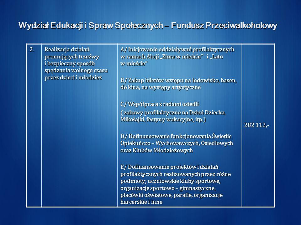 Wydział Edukacji i Spraw Społecznych – Fundusz Przeciwalkoholowy 2. Realizacja działań promujących trzeźwy i bezpieczny sposób spędzania wolnego czasu