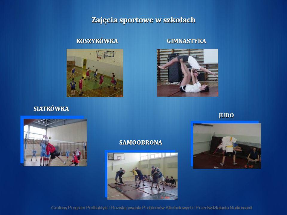 Gminny Program Profilaktyki i Rozwiązywania Problemów Alkoholowych i Przeciwdziałania Narkomanii SIATKÓWKA JUDO GIMNASTYKA SAMOOBRONA KOSZYKÓWKA Zajęcia sportowe w szkołach