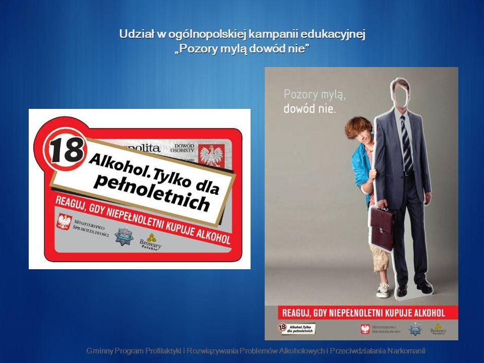 Gminny Program Profilaktyki i Rozwiązywania Problemów Alkoholowych i Przeciwdziałania Narkomanii Udział w ogólnopolskiej kampanii edukacyjnej Pozory mylą dowód nie