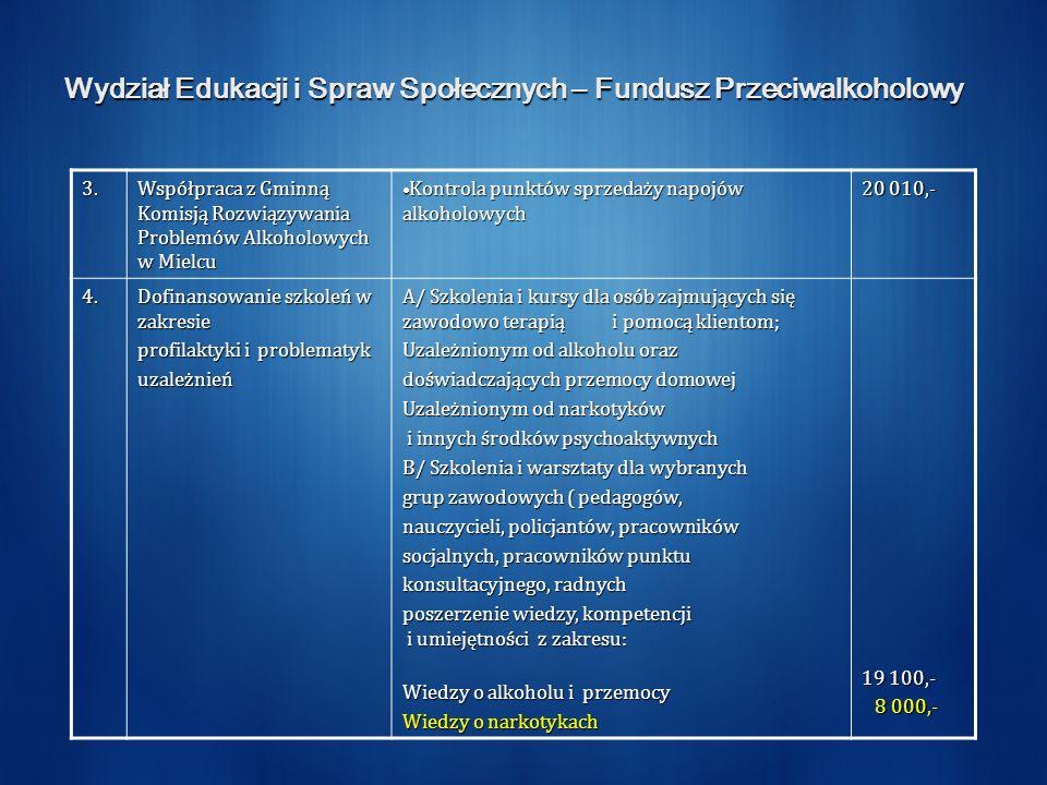 Wydział Edukacji i Spraw Społecznych – Fundusz Przeciwalkoholowy 3. Współpraca z Gminną Komisją Rozwiązywania Problemów Alkoholowych w Mielcu Kontrola