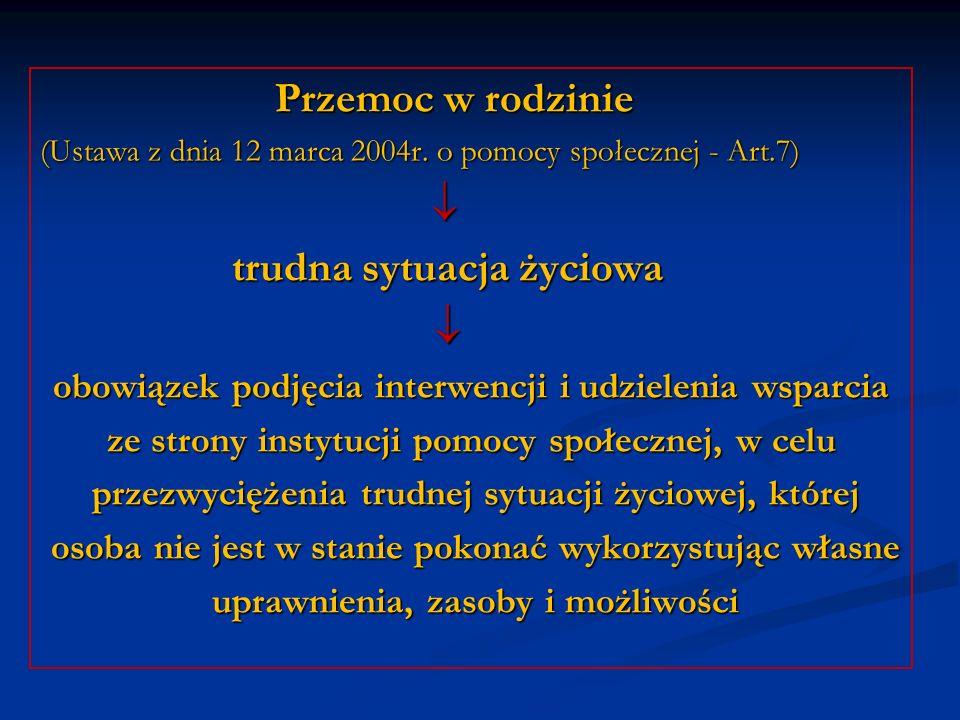 Przemoc w rodzinie Przemoc w rodzinie (Ustawa z dnia 12 marca 2004r. o pomocy społecznej - Art.7) trudna sytuacja życiowa trudna sytuacja życiowa obow