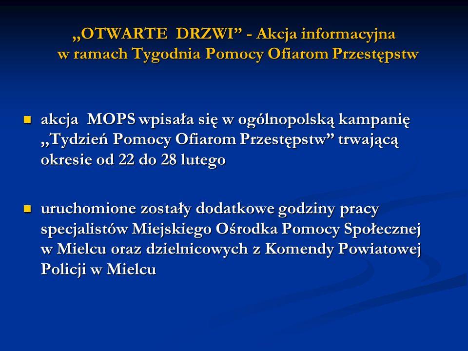,,OTWARTE DRZWI - Akcja informacyjna w ramach Tygodnia Pomocy Ofiarom Przestępstw akcja MOPS wpisała się w ogólnopolską kampanię,,Tydzień Pomocy Ofiar