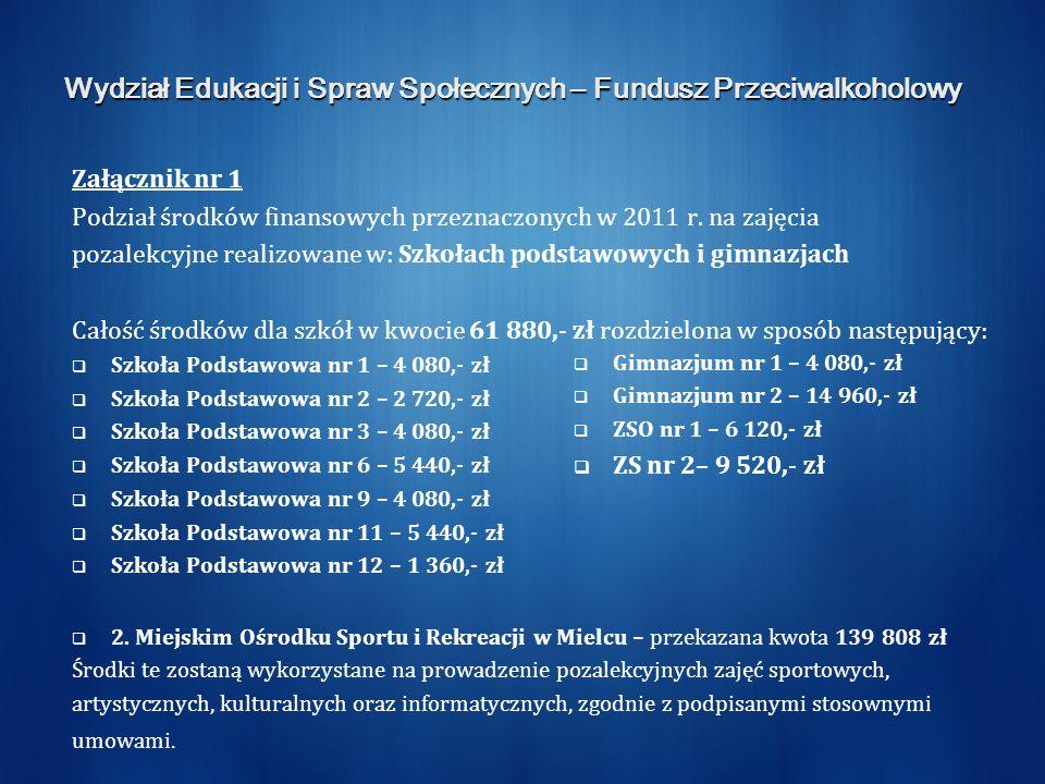 Wydział Edukacji i Spraw Społecznych – Fundusz Przeciwalkoholowy Załącznik nr 1 Podział środków finansowych przeznaczonych w 2011 r.