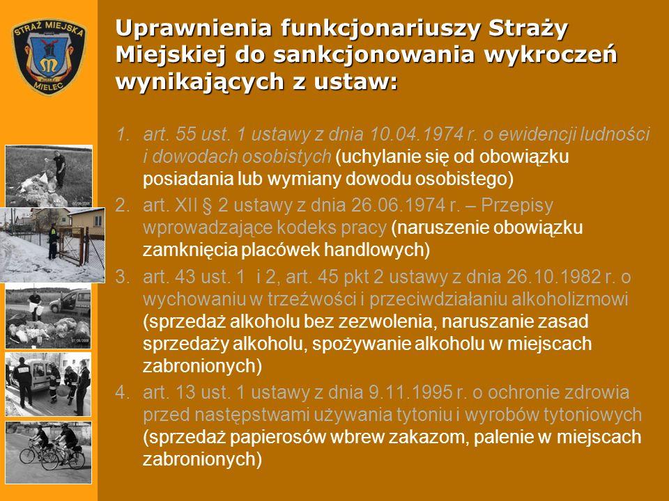 Uprawnienia funkcjonariuszy Straży Miejskiej do sankcjonowania wykroczeń wynikających z ustaw: 1.art. 55 ust. 1 ustawy z dnia 10.04.1974 r. o ewidencj