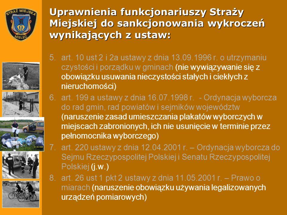 Uprawnienia funkcjonariuszy Straży Miejskiej do sankcjonowania wykroczeń wynikających z ustaw: 5.art. 10 ust 2 i 2a ustawy z dnia 13.09.1996 r. o utrz