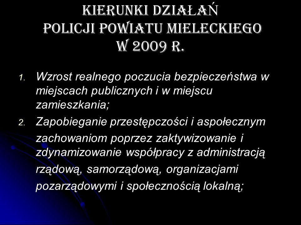 KIERUNKI DZIA Ł A Ń POLICJI POWIATU MIELECKIEGO W 2009 r. 1. 1. Wzrost realnego poczucia bezpieczeństwa w miejscach publicznych i w miejscu zamieszkan
