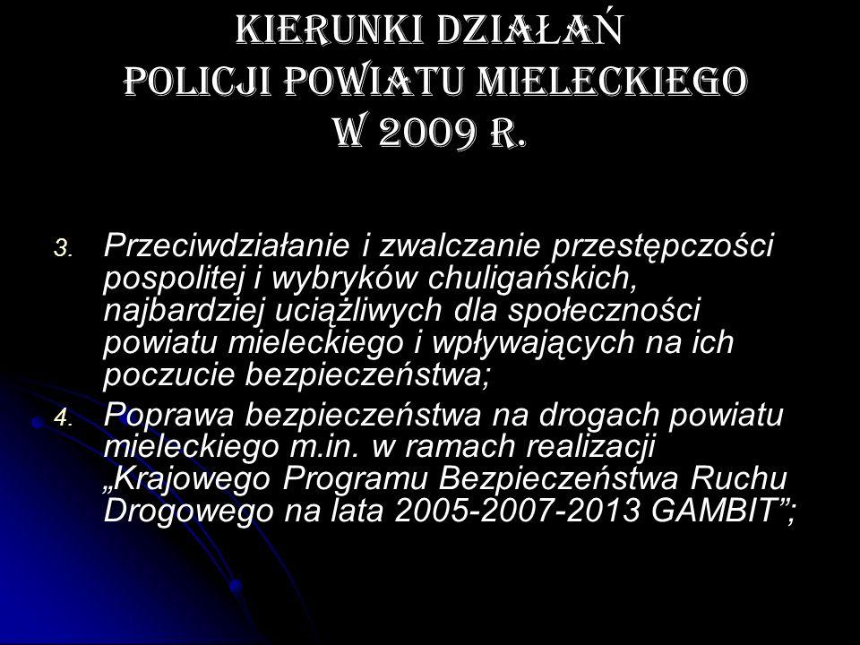 KIERUNKI DZIA Ł A Ń POLICJI POWIATU MIELECKIEGO W 2009 r. 3. 3. Przeciwdziałanie i zwalczanie przestępczości pospolitej i wybryków chuligańskich, najb