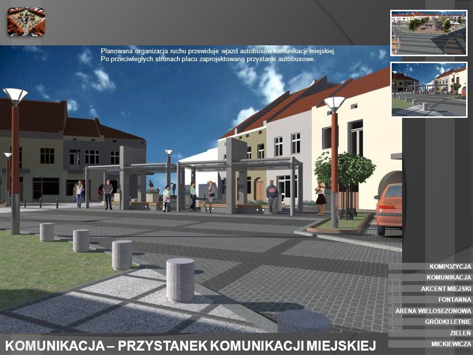 AKCENT MIEJSKI - PÓŁNOCNY W północnym oraz południowym narożniku placu zaprojektowano postumenty przeznaczone pod instalację zmiennej rzeżby lub stałego akcentu miejskiego.