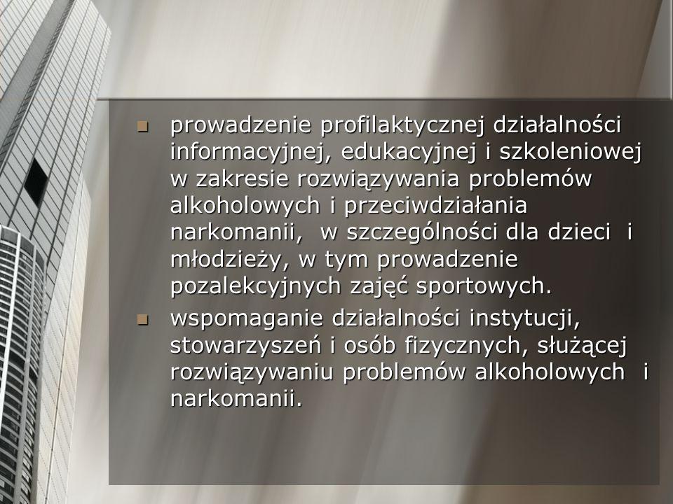 prowadzenie profilaktycznej działalności informacyjnej, edukacyjnej i szkoleniowej w zakresie rozwiązywania problemów alkoholowych i przeciwdziałania
