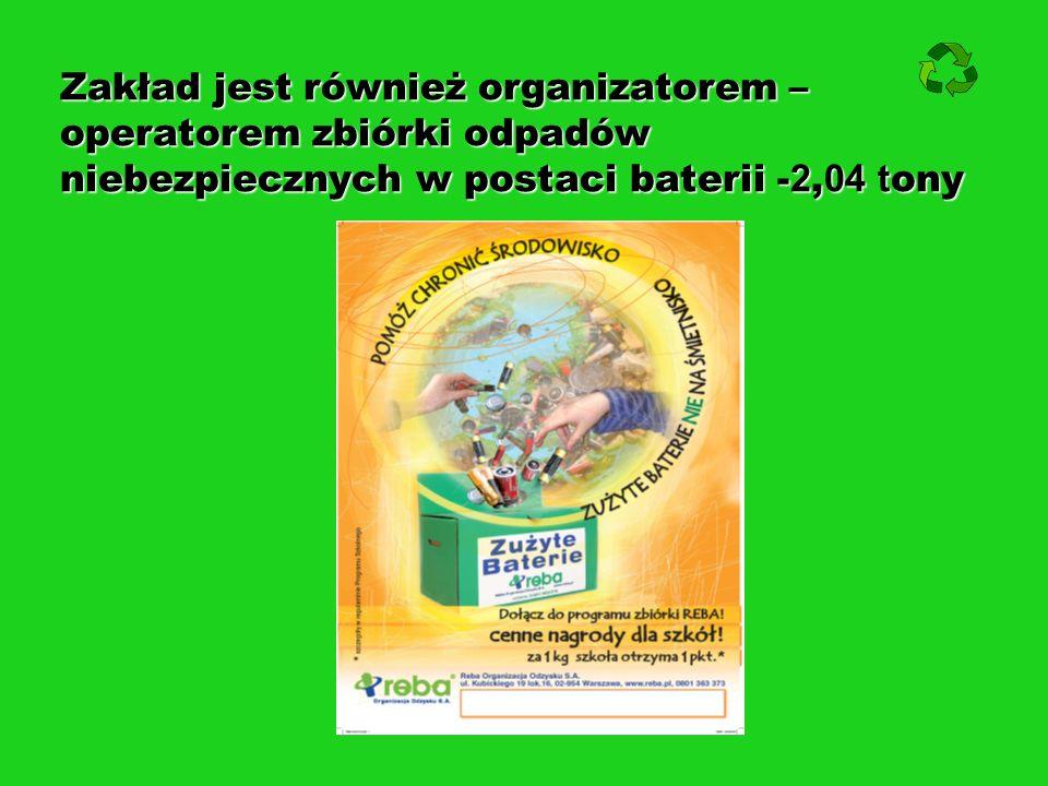 Zakład jest również organizatorem – operatorem zbiórki odpadów niebezpiecznych w postaci baterii - 2, 04 t ony