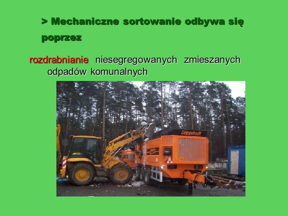 > Mechaniczne sortowanie odbywa się poprzez rozdrabnianie niesegregowanych zmieszanych odpadów komunalnych