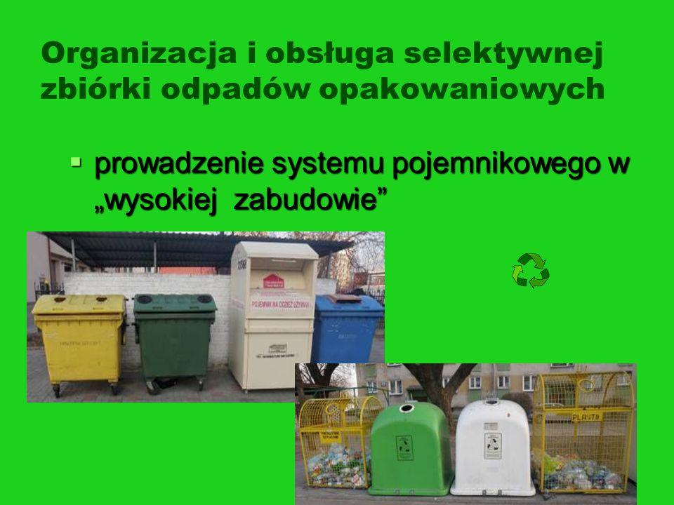 Organizacja i obsługa selektywnej zbiórki odpadów opakowaniowych prowadzenie systemu pojemnikowego w wysokiej zabudowie prowadzenie systemu pojemnikow