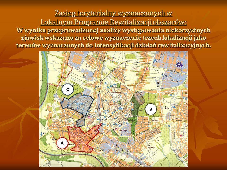 Zasięg terytorialny wyznaczonych w Lokalnym Programie Rewitalizacji obszarów: W wyniku przeprowadzonej analizy występowania niekorzystnych zjawisk wskazano za celowe wyznaczenie trzech lokalizacji jako terenów wyznaczonych do intensyfikacji działań rewitalizacyjnych.