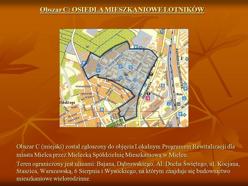Obszar C: OSIEDLA MIESZKANIOWE LOTNIKÓW Obszar C (miejski) został zgłoszony do objęcia Lokalnym Programem Rewitalizacji dla miasta Mielca przez Mielecką Spółdzielnię Mieszkaniową w Mielcu.