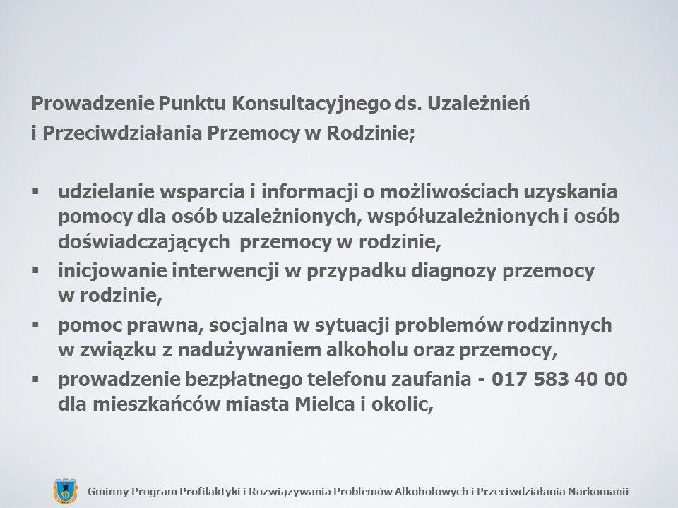 Gminny Program Profilaktyki i Rozwiązywania Problemów Alkoholowych i Przeciwdziałania Narkomanii Prowadzenie Punktu Konsultacyjnego ds. Uzależnień i P